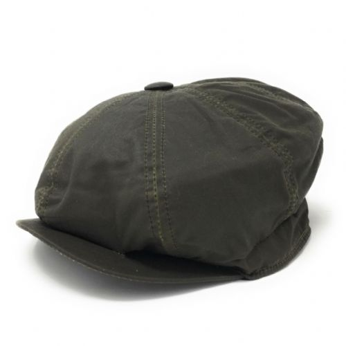 Mens 8-piece Cap: Waxed Cotton, Waterproof - Green